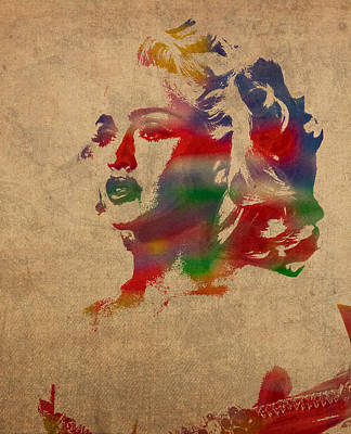 Madonna Watercolor Portrait On Worn Distressed Canvas Poster by Design Turnpike