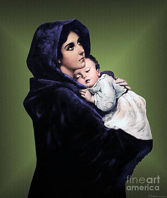 Poster featuring the digital art Madonna With Child by A Samuel