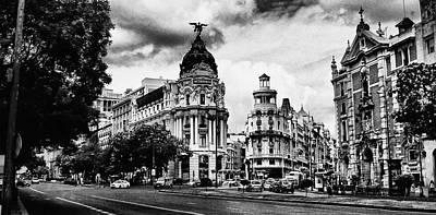 Madrid Metropolis Bw Poster