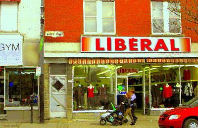 Magazin Liberal Notre Dame Ouest Dress Shop Strolling  St. Henri  Street Scenes Carole Spandau Poster by Carole Spandau
