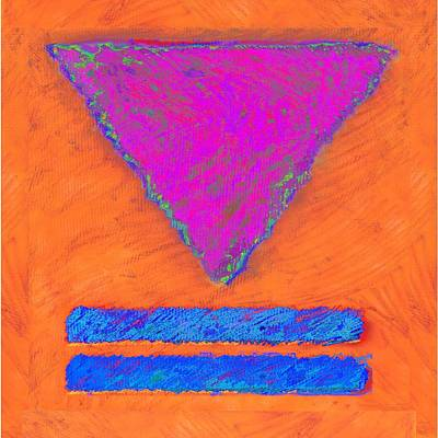 Magenta Triangle On Orange Poster