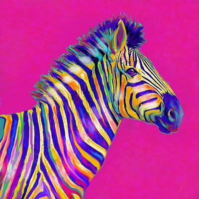 Magenta Zebra Poster by Jane Schnetlage