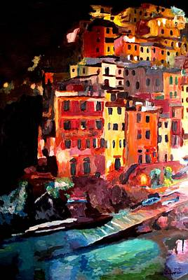 Magic Cinque Terre Night In Riomaggiore Poster by M Bleichner