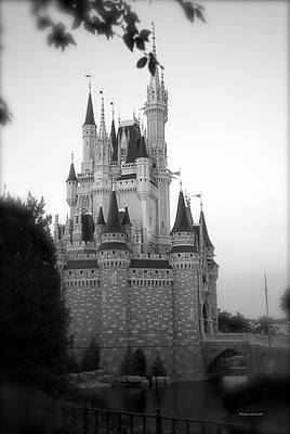 Magic Kingdom Castle Side View In Black And White Poster by Thomas Woolworth
