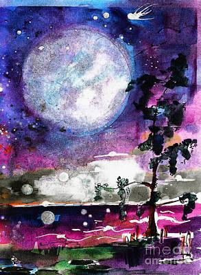 Magical Swamp Lights Big Moon Poster