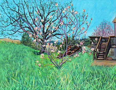 Magnolia Blooming At The Farm Poster by Asha Carolyn Young