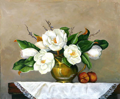 Poster featuring the painting Magnolias - Southern Beauties by Sandra Nardone