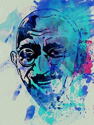 Mahatma Gandhi Watercolor Poster by Naxart Studio