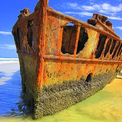 Maheno Shipwreck Poster by Ramona Johnston