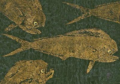 Mahi Mahi On Black W/ Gold Thread Unryu Paper Poster
