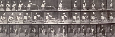 Maid Throwing A Bucket Of Water Poster by Eadweard Muybridge