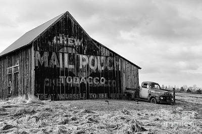 Mail Pouch Tobacco Barn In Black And White Poster by Paul Ward