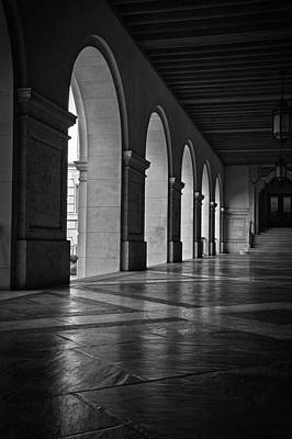 Main Building Arches University Of Texas Bw Poster by Joan Carroll