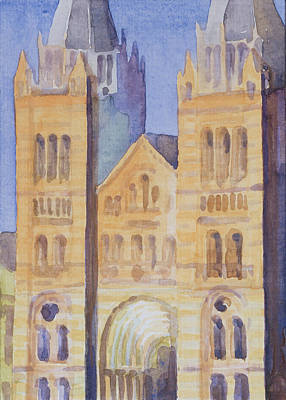 Main Entrance Of The Natural History Museum, London, Sunset, 1994 Wc On Paper Poster by Izabella Godlewska de Aranda