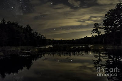 Maine Beaver Pond At Night Poster