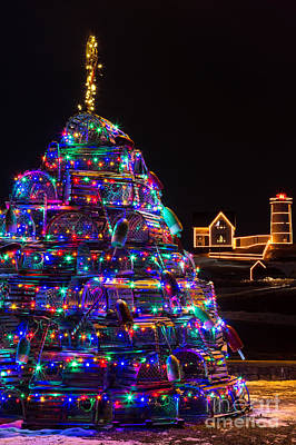Maine Christmas Tree Cape Neddick Lighthouse Poster by Dawna  Moore Photography
