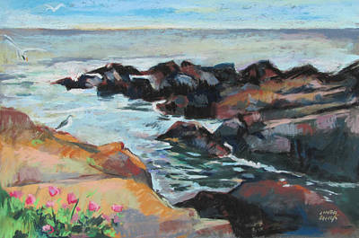 Poster featuring the painting Maine Coast Rocks And Birds by Linda Novick