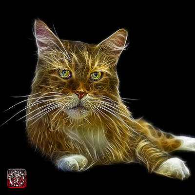 Poster featuring the painting Maine Coon Cat - 3926 - Bb by James Ahn