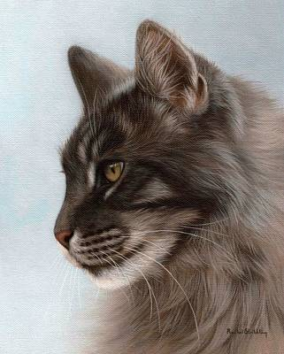 Maine Coon Painting Poster by Rachel Stribbling