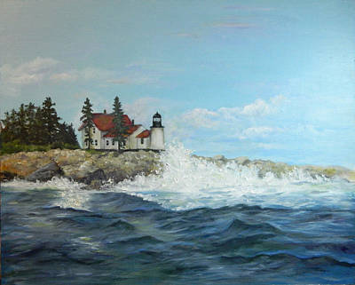 Poster featuring the painting Maine Lighthouse by Sandra Nardone