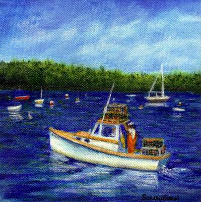 Poster featuring the painting Maine Lobster Boat by Sandra Estes