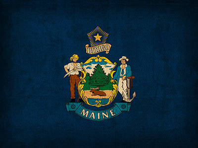 Maine State Flag Art On Worn Canvas Poster by Design Turnpike