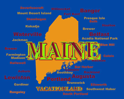 Maine State Pride Map Silhouette  Poster by Keith Webber Jr