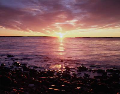 Maine, Sunrise Over The Rocky Shoreline Poster