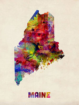 Maine Watercolor Map Poster by Michael Tompsett