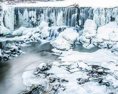 Maine's Winter Wonderland Tidal Waterfall Poster by Stroudwater Falls Photography