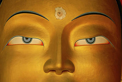 Maitreya Close Up Of Buddha Poster by Colin Monteath