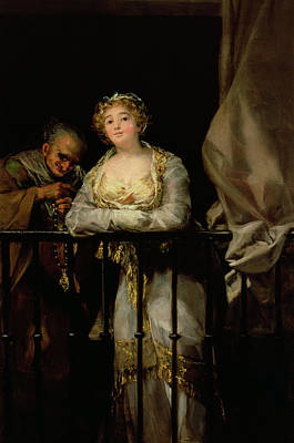 Maja And Celestina On A Balcony, 1805-12 Oil On Canvas Poster by Francisco Jose de Goya y Lucientes