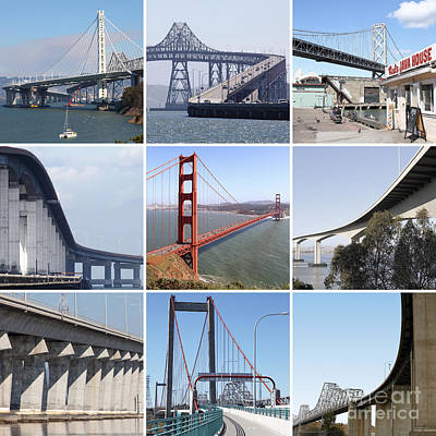 Majestic Bridges Of The San Francisco Bay Area Poster by Wingsdomain Art and Photography
