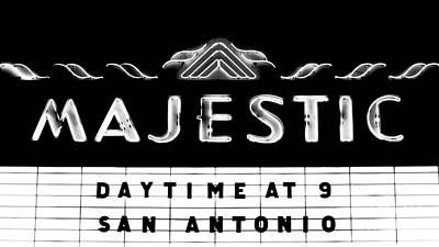 Majestic Theater Marquee Classic Cinema Americana San Antonio Conte Crayon Black And White Poster by Shawn O'Brien