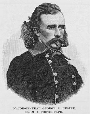 Major General George Armstrong Custer, Engraved From A Photograph, Illustration From Battles Poster