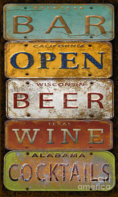 Bar Open-license Plate Art  Poster by Jean Plout