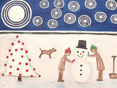 Making A Snowman At Christmas Poster by Patrick J Murphy