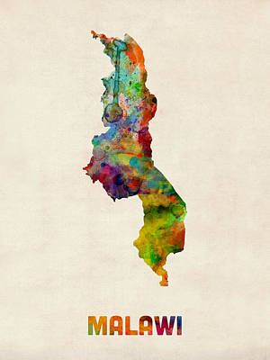Malawi Watercolor Map Poster by Michael Tompsett