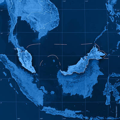 Malaysia Topographic Map Poster by Frank Ramspott