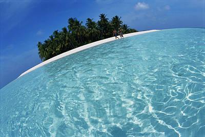 Maldives, Couple Walking On Beach Poster by Stuart Westmorland