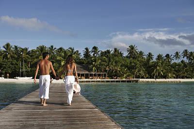 Maldives, Couple Walking On Pier � Poster