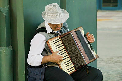 Male Accordion Player In Town Center Poster