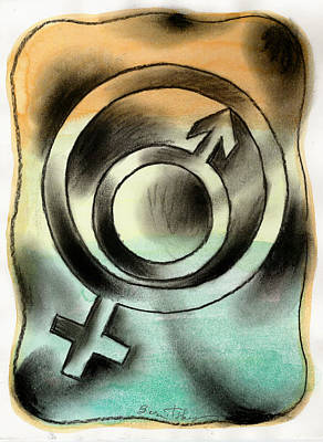 Male And Female Poster by Leon Zernitsky