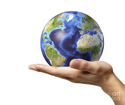 Male Hand Holding Earth Globe Poster