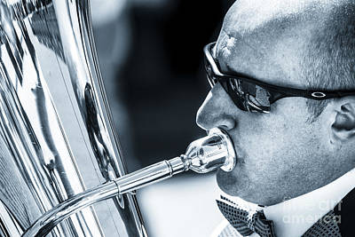 Male In Sunglasses Blowing Mouthpiece Of Tuba Poster