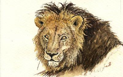 Male Lion Poster by Juan  Bosco