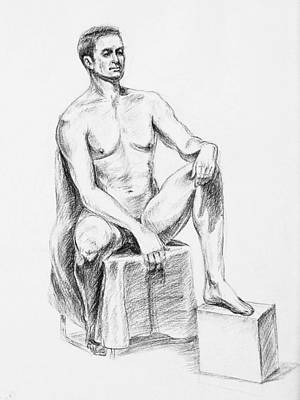 Male Model Seated Charcoal Study Poster