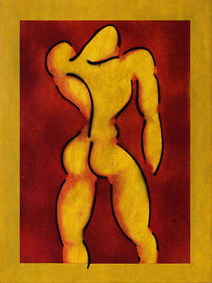 Male Nude Against A Red Background II Poster by Estefan Gargost
