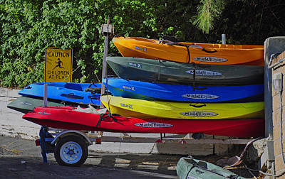Poster featuring the digital art Malibu Kayaks by Gandz Photography