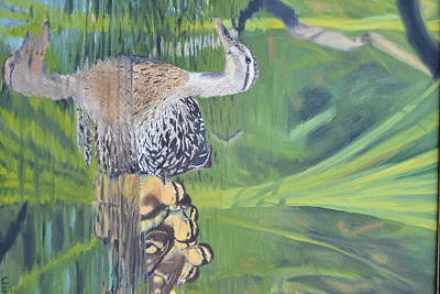 Mallard Hen And Young Poster